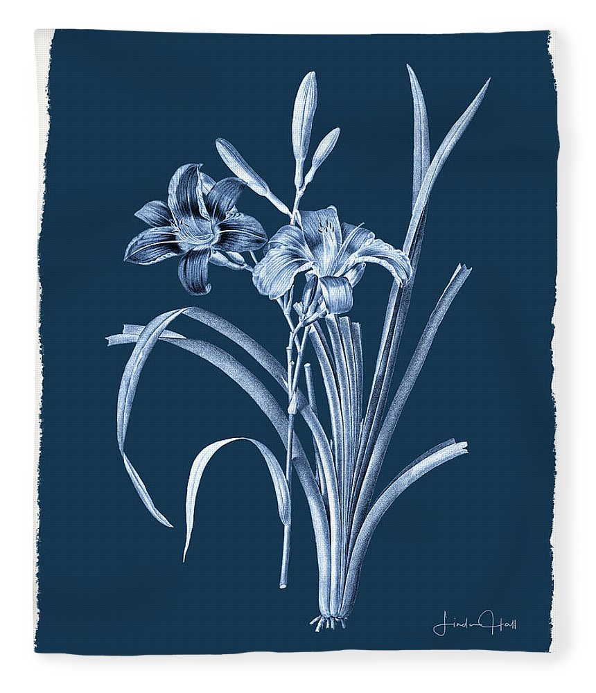 Digital Fleece Blanket featuring the digital art Botanical Cyanotype Series No. Six by Linda Lee Hall