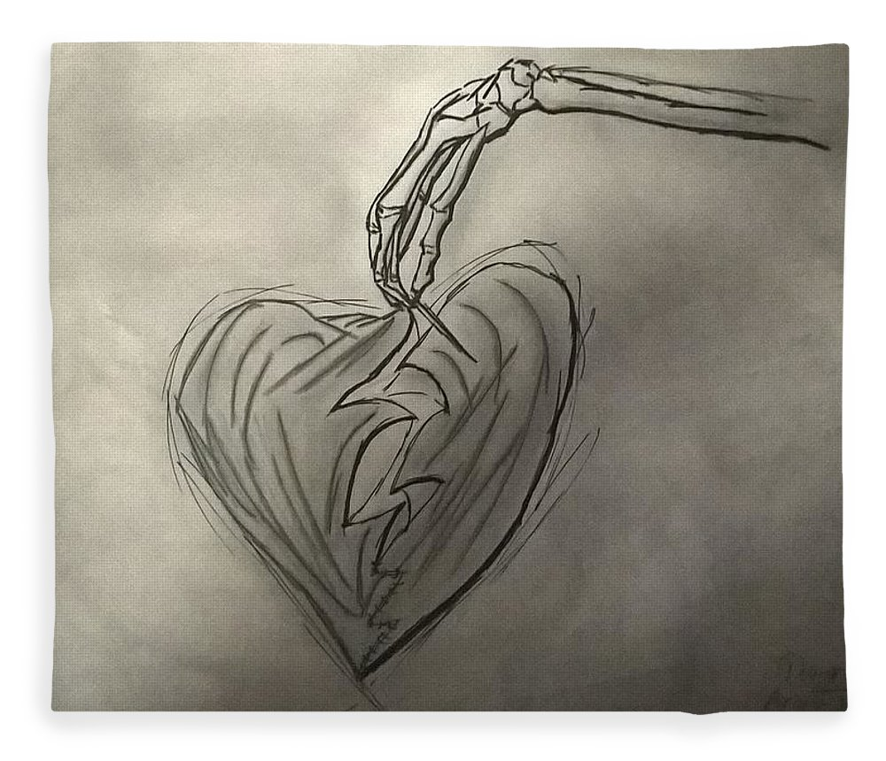 Drawing Fleece Blanket featuring the photograph Broken Heart Mended by Ariana Torralba