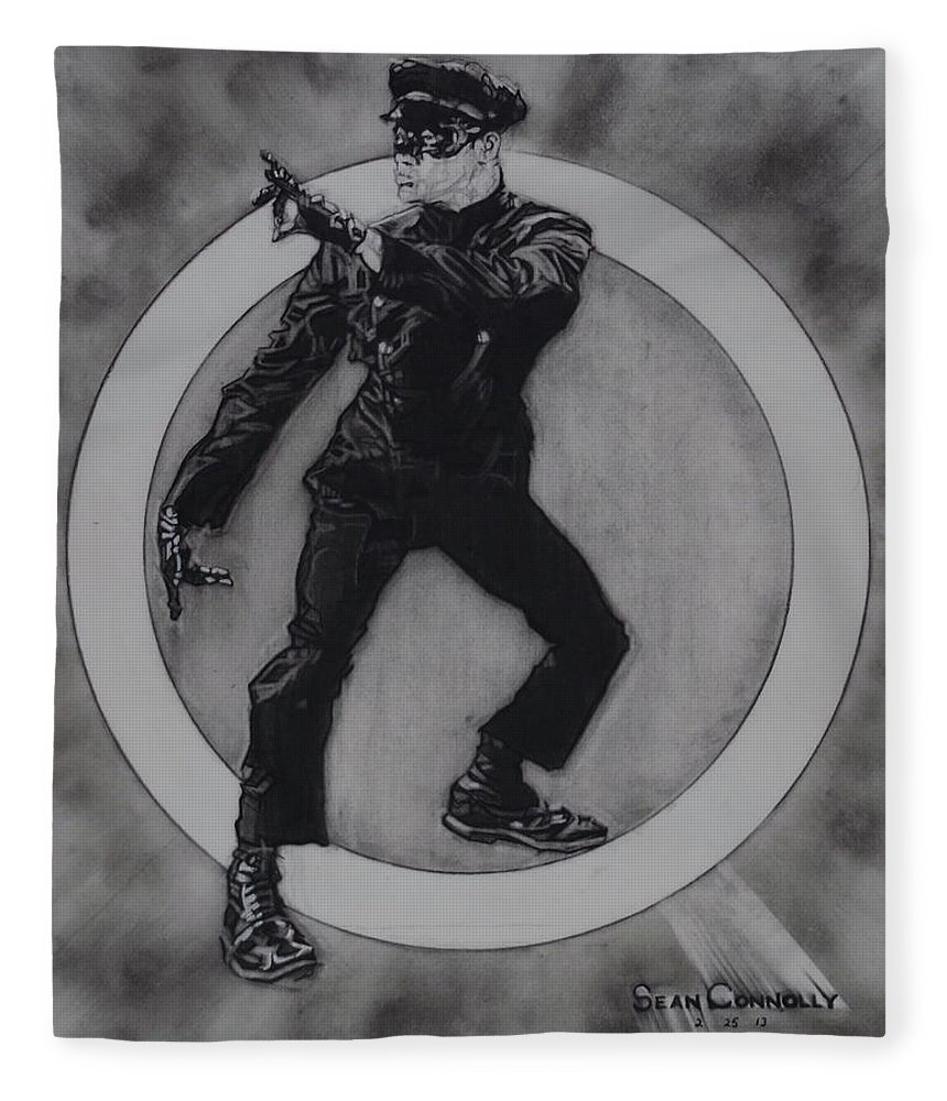 Charcoal Pencil Fleece Blanket featuring the drawing Bruce Lee - Kato - 3 by Sean Connolly