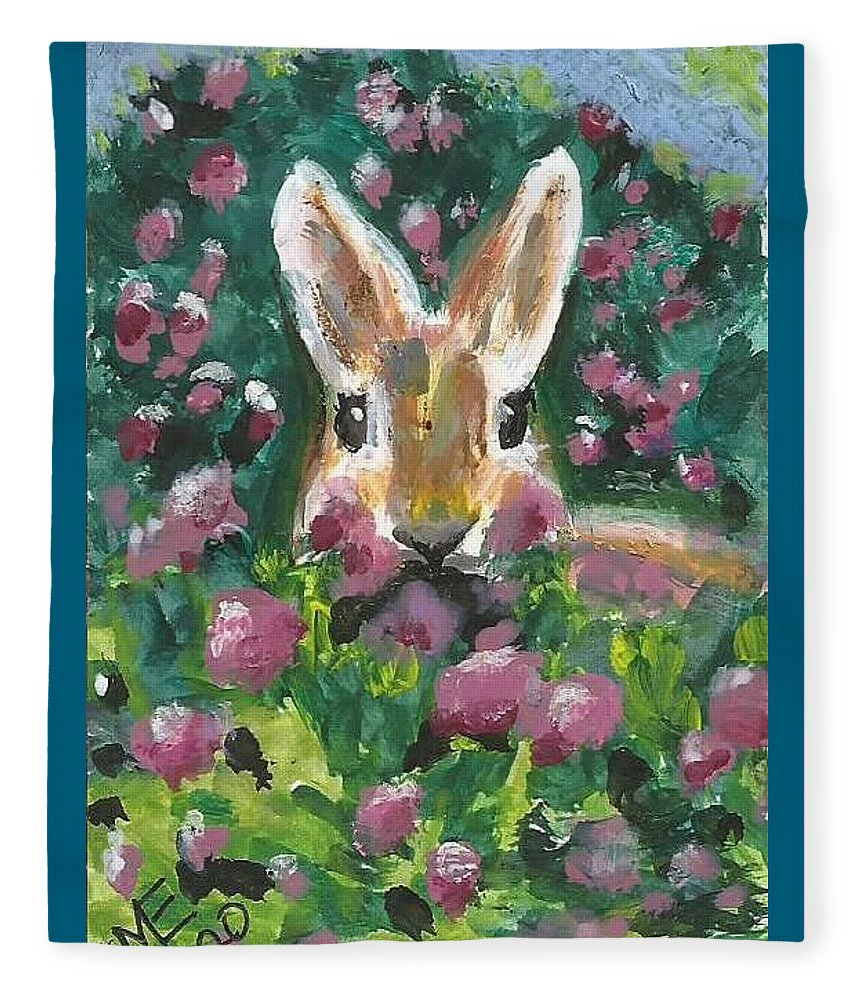Bunny Painting Fleece Blanket featuring the painting Bunny by Monica Resinger