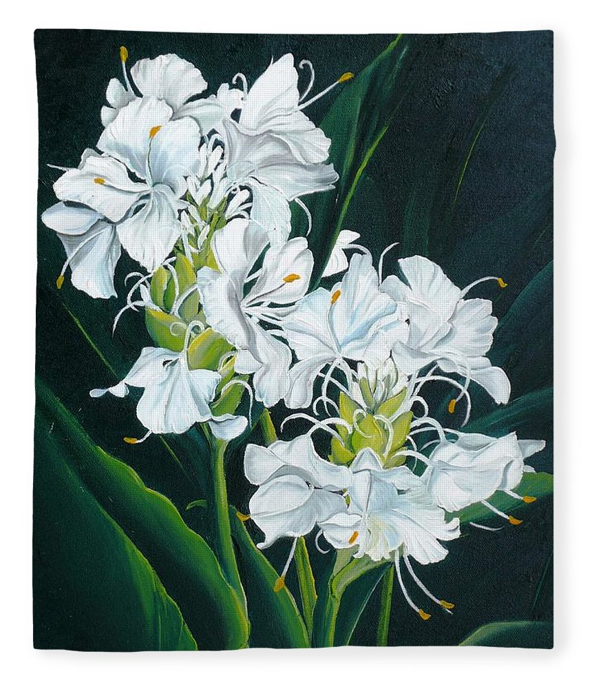 Caribbean Painting Butterfly Ginger Painting Floral Painting Botanical Painting Flower Painting Water Ginger Painting Or Water Ginger Tropical Lily Painting Original Oil Painting Trinidad And  Tobago Painting Tropical Painting Lily Painting White Flower Painting Fleece Blanket featuring the painting Butterfly Ginger by Karin Dawn Kelshall- Best
