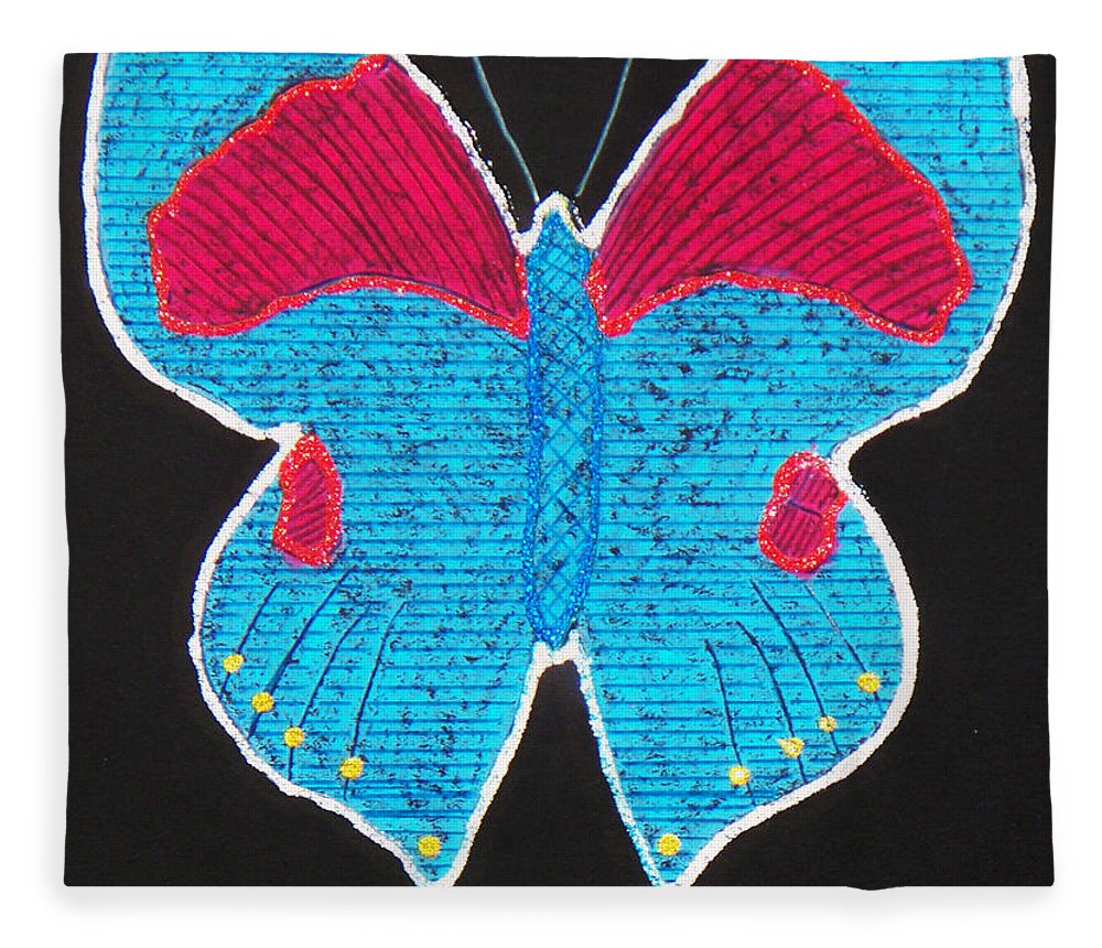 Drawing Fleece Blanket featuring the mixed media Butterfly by Sergey Bezhinets
