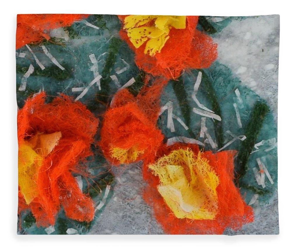 Dryer Sheets Fleece Blanket featuring the mixed media Cactus Flowers by Charla Van Vlack