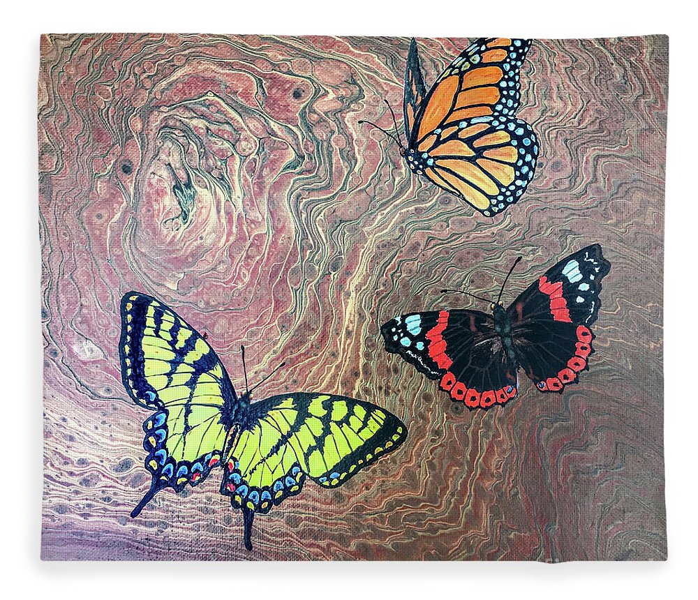 Butterflies Fleece Blanket featuring the painting California Butterflies by Lucy Arnold