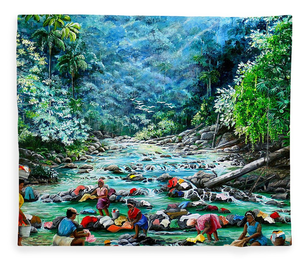 Land Scape Painting River Painting Mountain Painting Rain Forest Painting Washerwomen Painting Laundry Painting Caribbean Painting Tropical Painting Village Washer Women At A Mountain River In Trinidad And Tobago Fleece Blanket featuring the painting Caribbean Wash Day by Karin Dawn Kelshall- Best