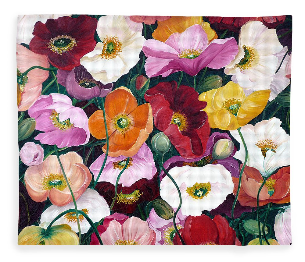 Flower Painting Floral Painting Poppy Painting Icelandic Poppies Painting Botanical Painting Original Oil Paintings Greeting Card Painting Fleece Blanket featuring the painting Cascade Of Poppies by Karin Dawn Kelshall- Best