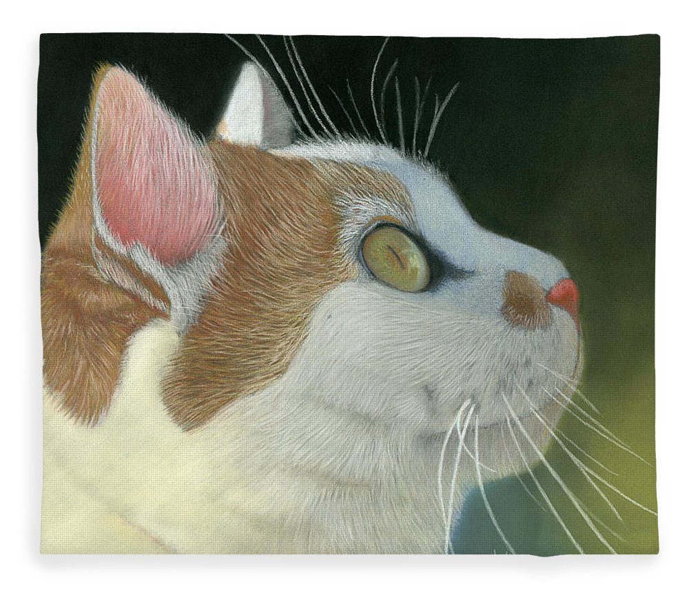 Cat Fleece Blanket featuring the pastel Cat Portrait Pastel Painting by Dave Nevue