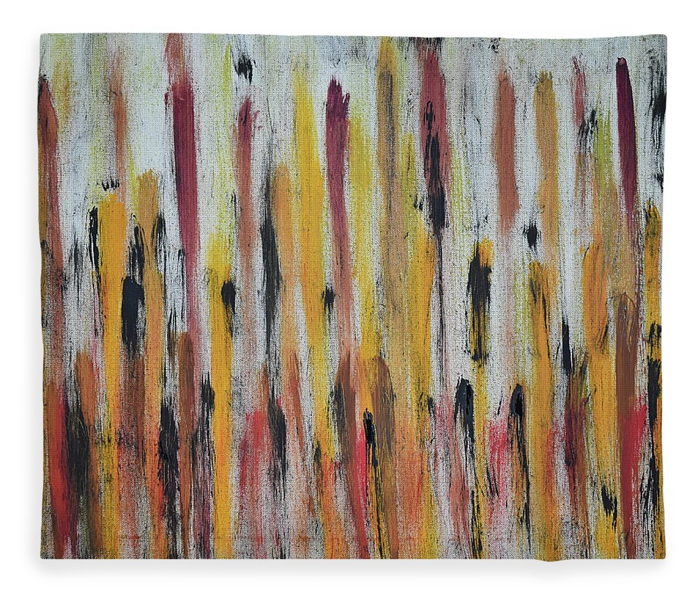 Red Fleece Blanket featuring the painting Cattails at Sunset by Pam Roth O'Mara