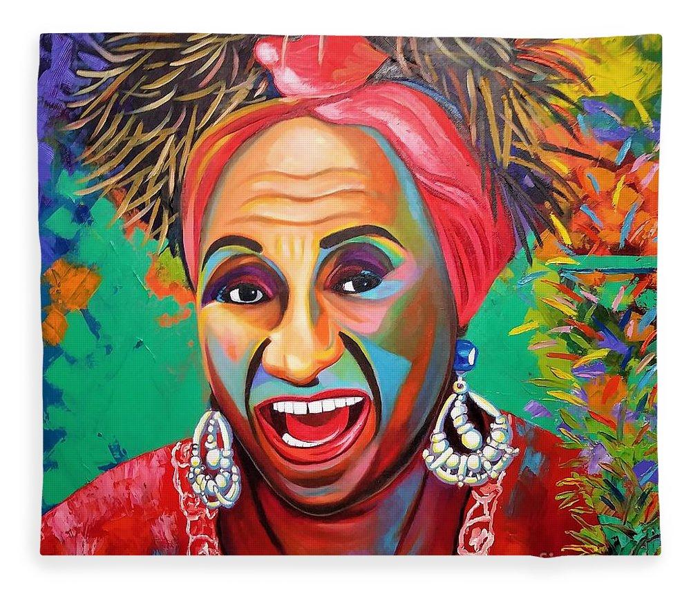Celia Cruz Fleece Blanket featuring the painting Celia by Jose Manuel Abraham