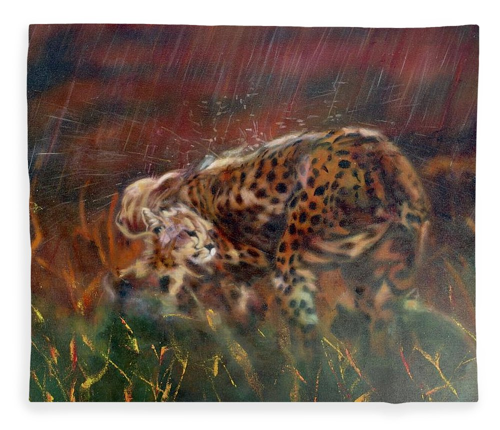 Oil Painting On Canvas Fleece Blanket featuring the painting Cheetah Family After The Rains by Sean Connolly