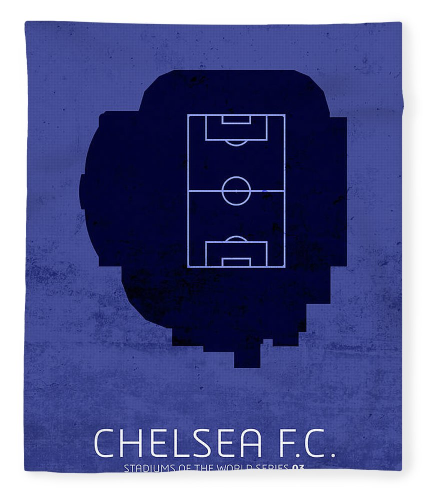 Chelsea Fleece Blanket featuring the mixed media Chelsea Fc Sports Stadium Minimalist Football Soccer Series by Design Turnpike