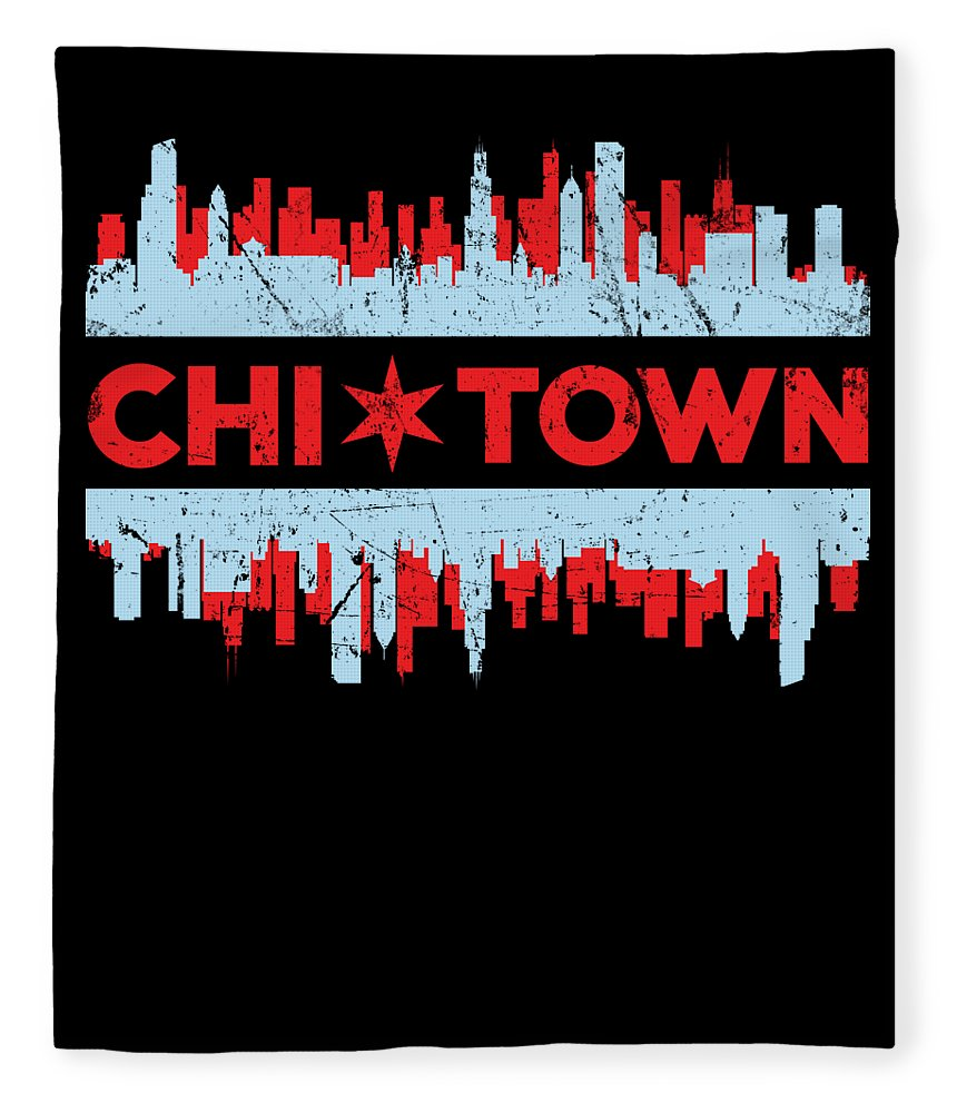 Chicago Flag Chi Town Skyline Chicagoan Apparel Gift Fleece Blanket For Sale By Michael S