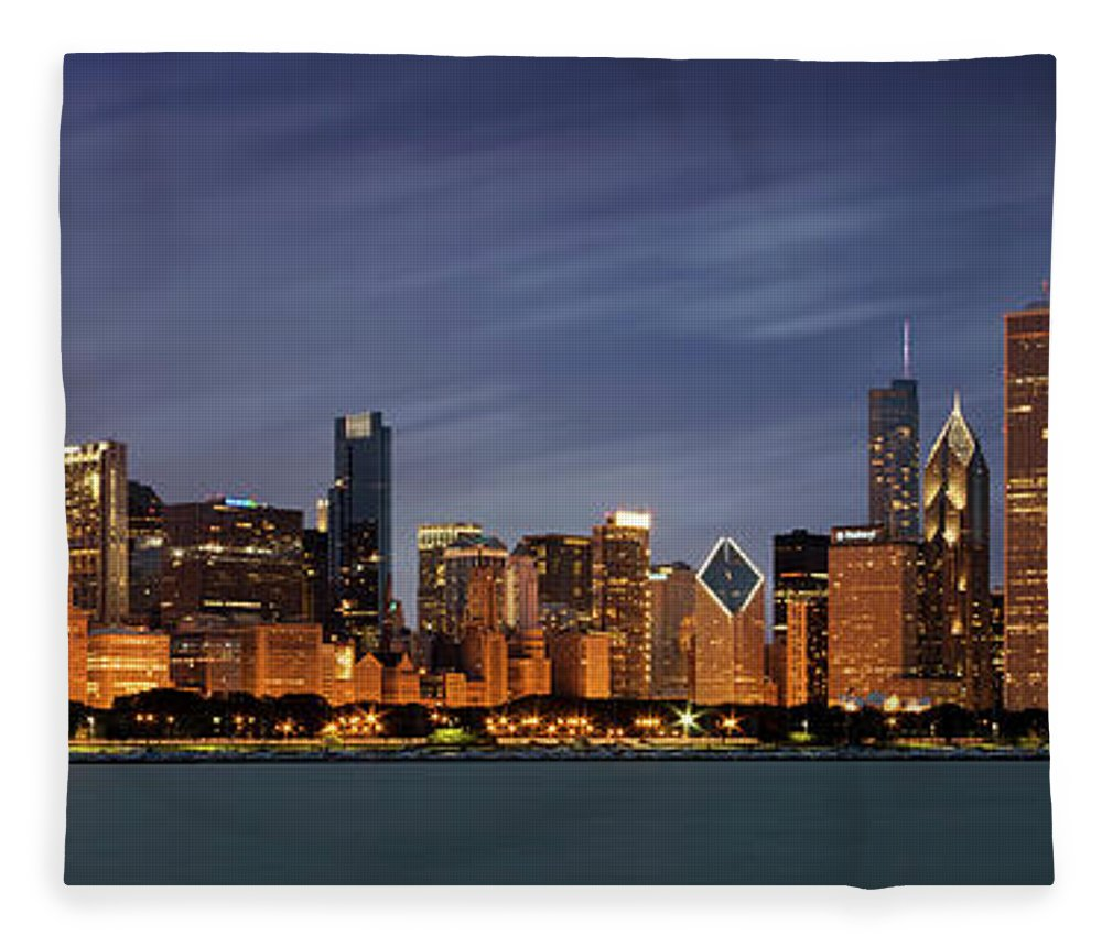 3scape Fleece Blanket featuring the photograph Chicago Skyline at Night Color Panoramic by Adam Romanowicz