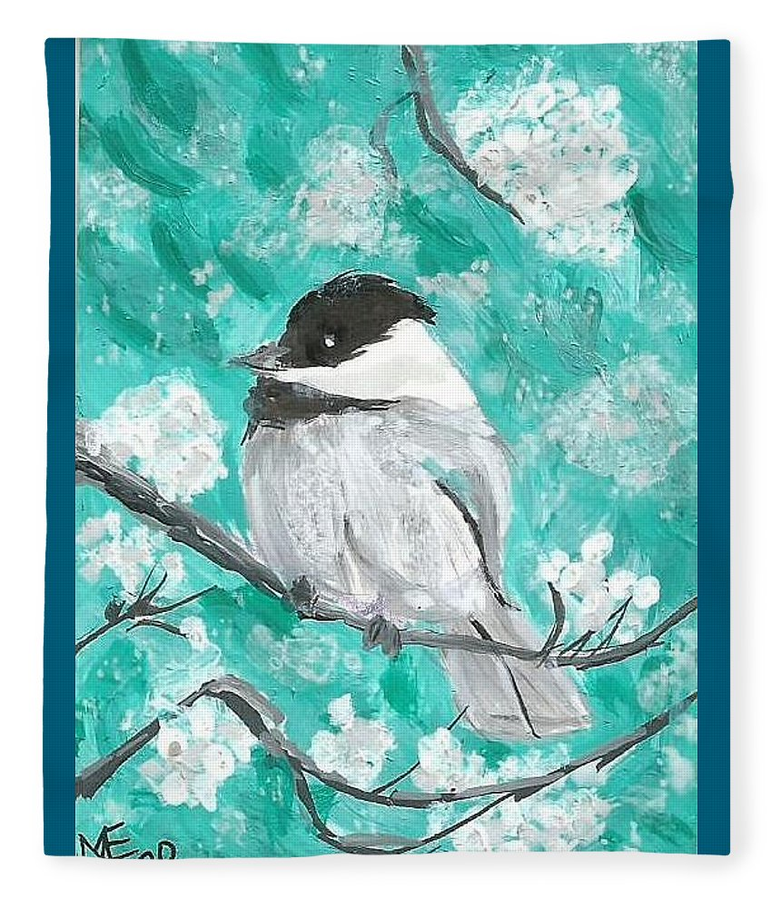 Chickadee Painting Fleece Blanket featuring the painting Chickadee by Monica Resinger