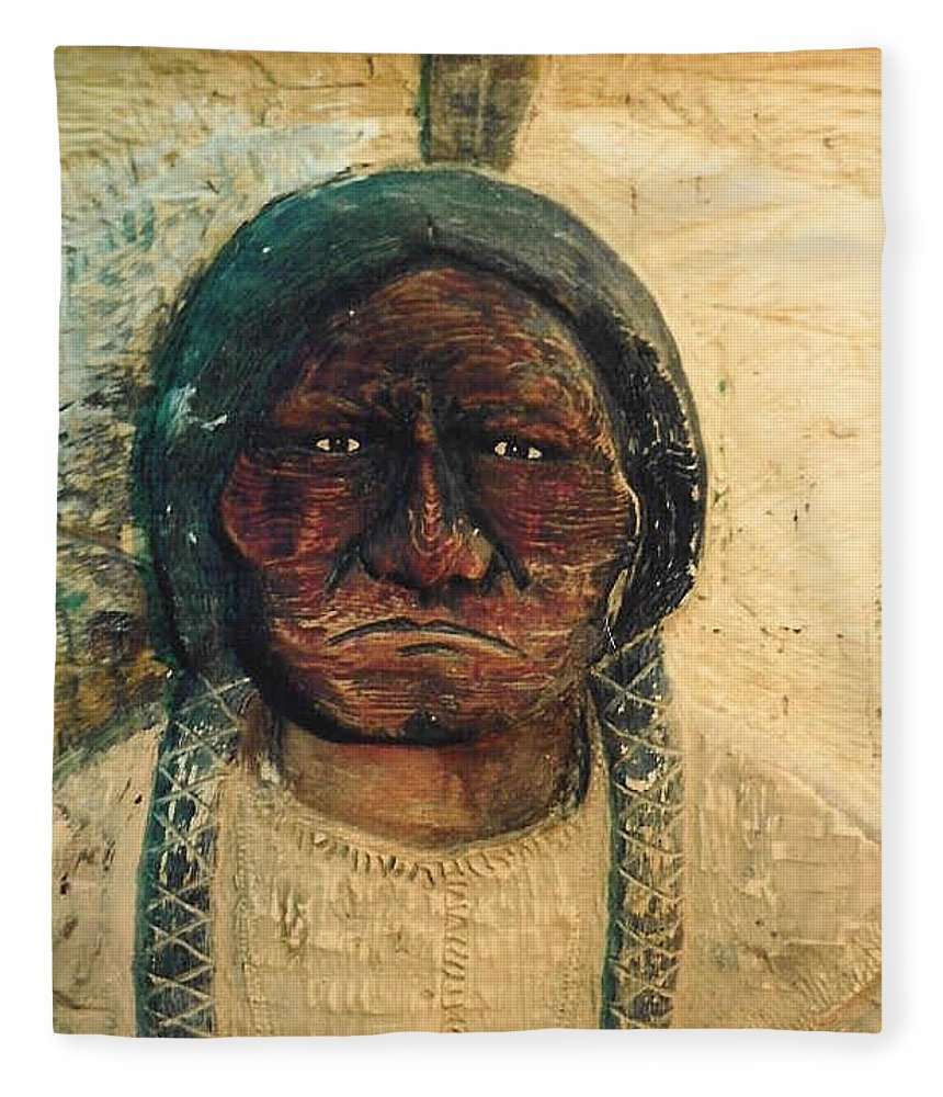 Indian Fleece Blanket featuring the sculpture Chief Sitting Bull by Michael Pasko