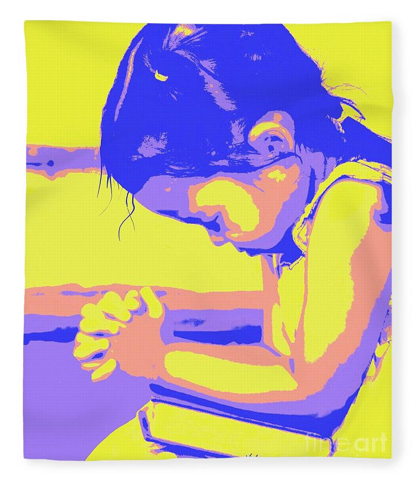 Prayer Fleece Blanket featuring the painting Child Praying 1 by Jack Bunds