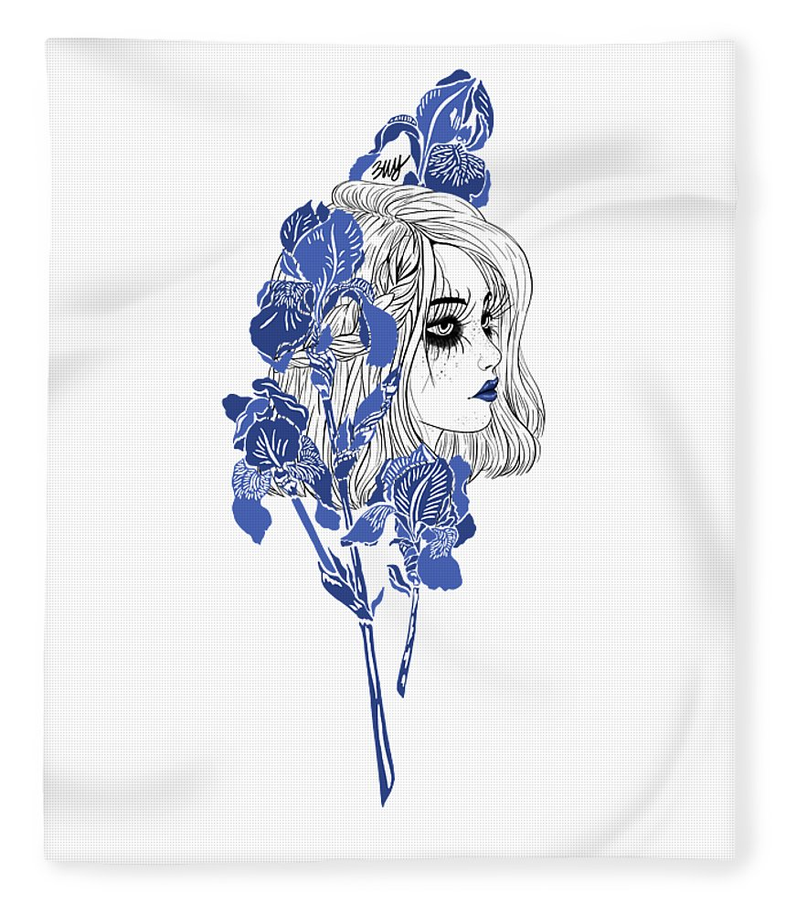 Digital Art Fleece Blanket featuring the digital art China girl by Elly Provolo