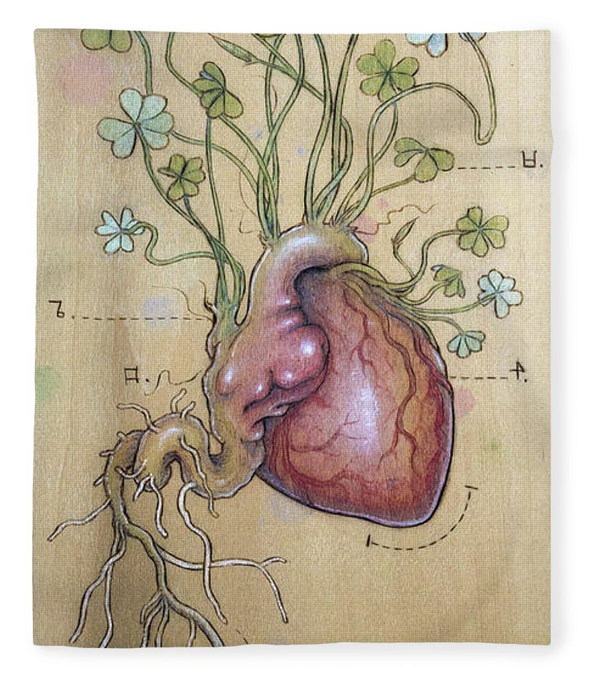 Clover Fleece Blanket featuring the pyrography Clover Heart by Fay Helfer