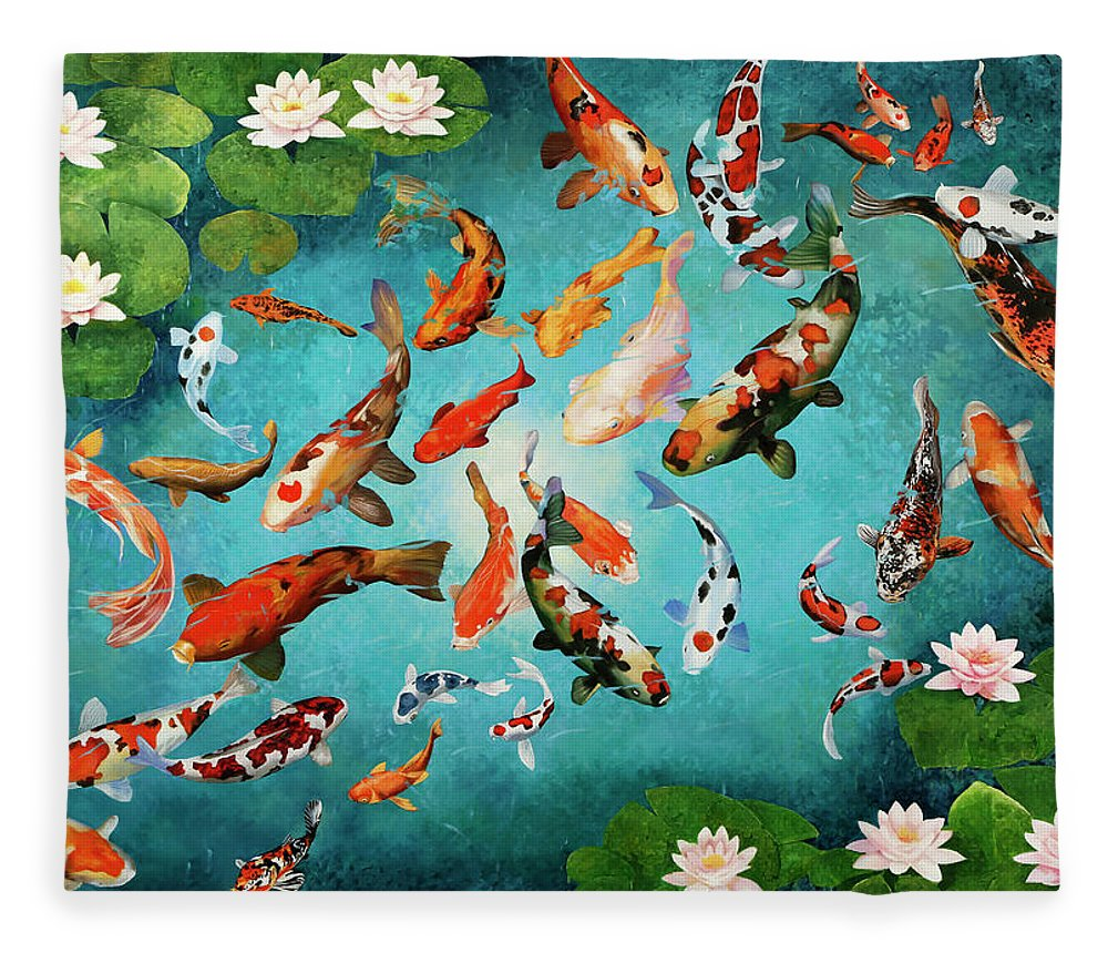 Carp Koi Fleece Blanket featuring the painting Colorful Koiscape by Guido Borelli