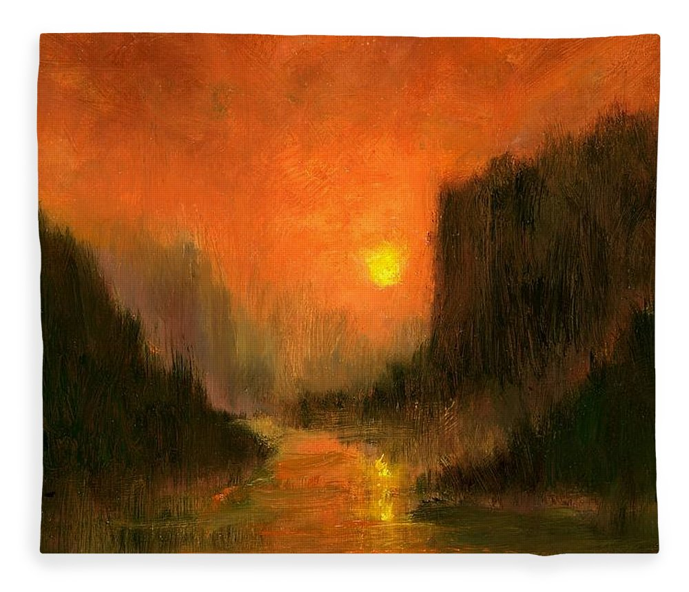 Miniatures Oil Paintings Fleece Blanket featuring the painting Columbia Gorge Nocturn by Jim Gola