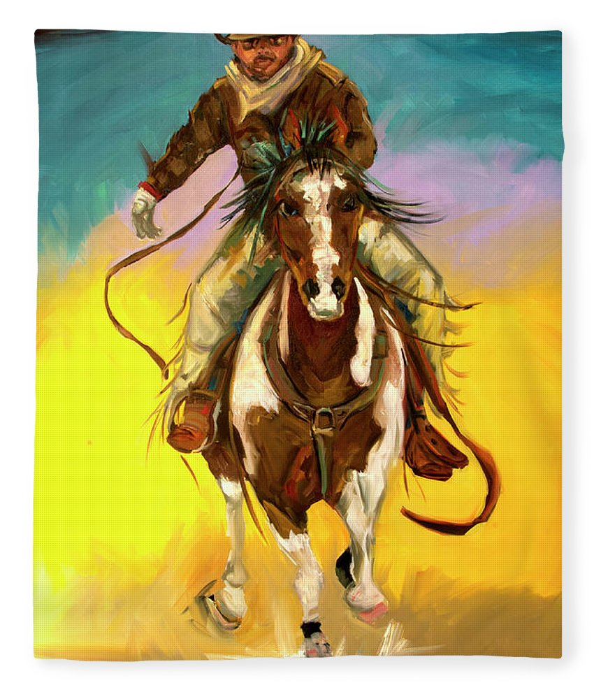 Cowboy Fleece Blanket featuring the painting Coming at You by Diane Whitehead