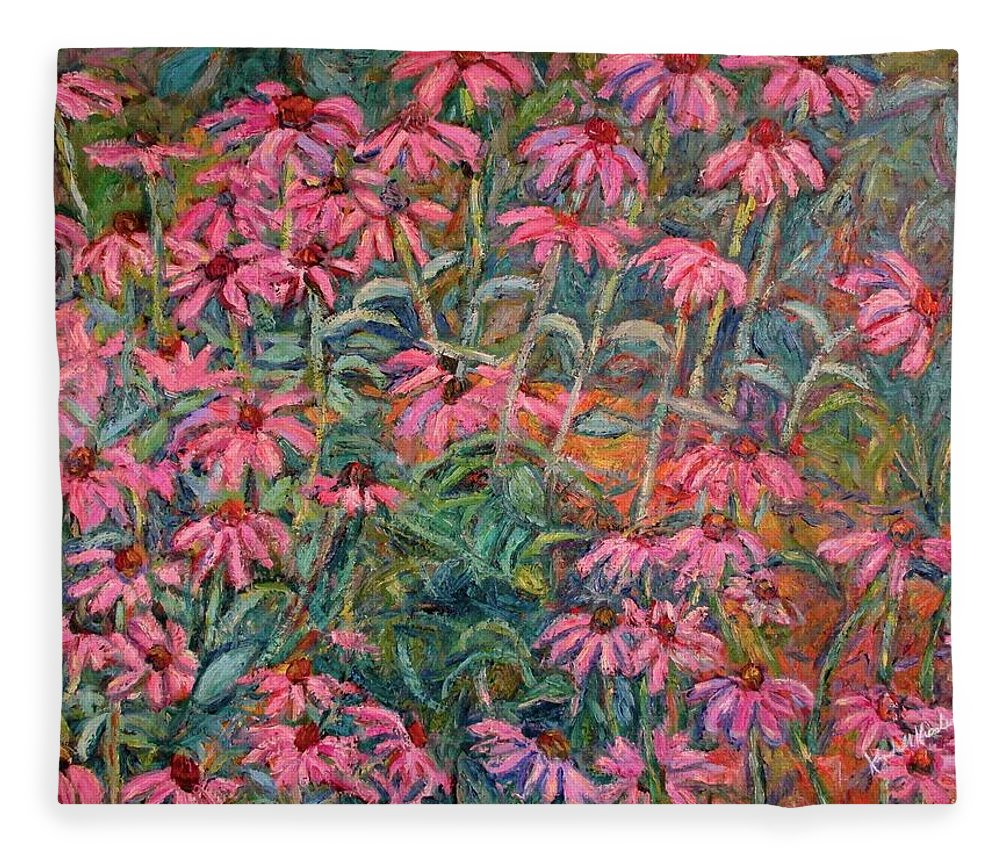 Kendall Kessler Fleece Blanket featuring the painting Coneflowers by Kendall Kessler