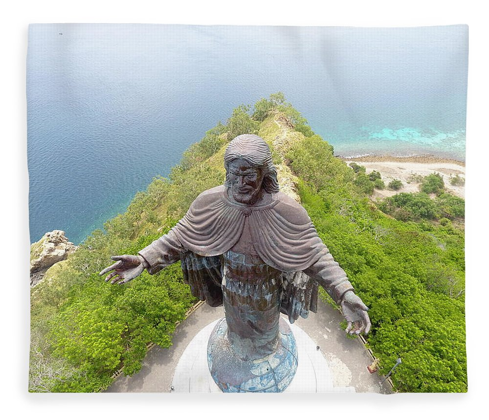 Adventure Fleece Blanket featuring the photograph Cristo Rei of Dili statue of Jesus by Brthrjhn2099
