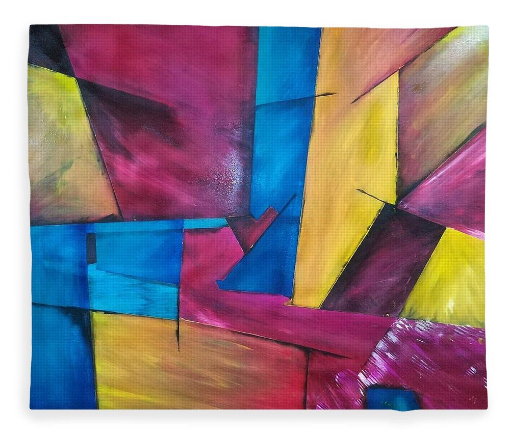Abstracto Fleece Blanket featuring the drawing D by Jacqueline