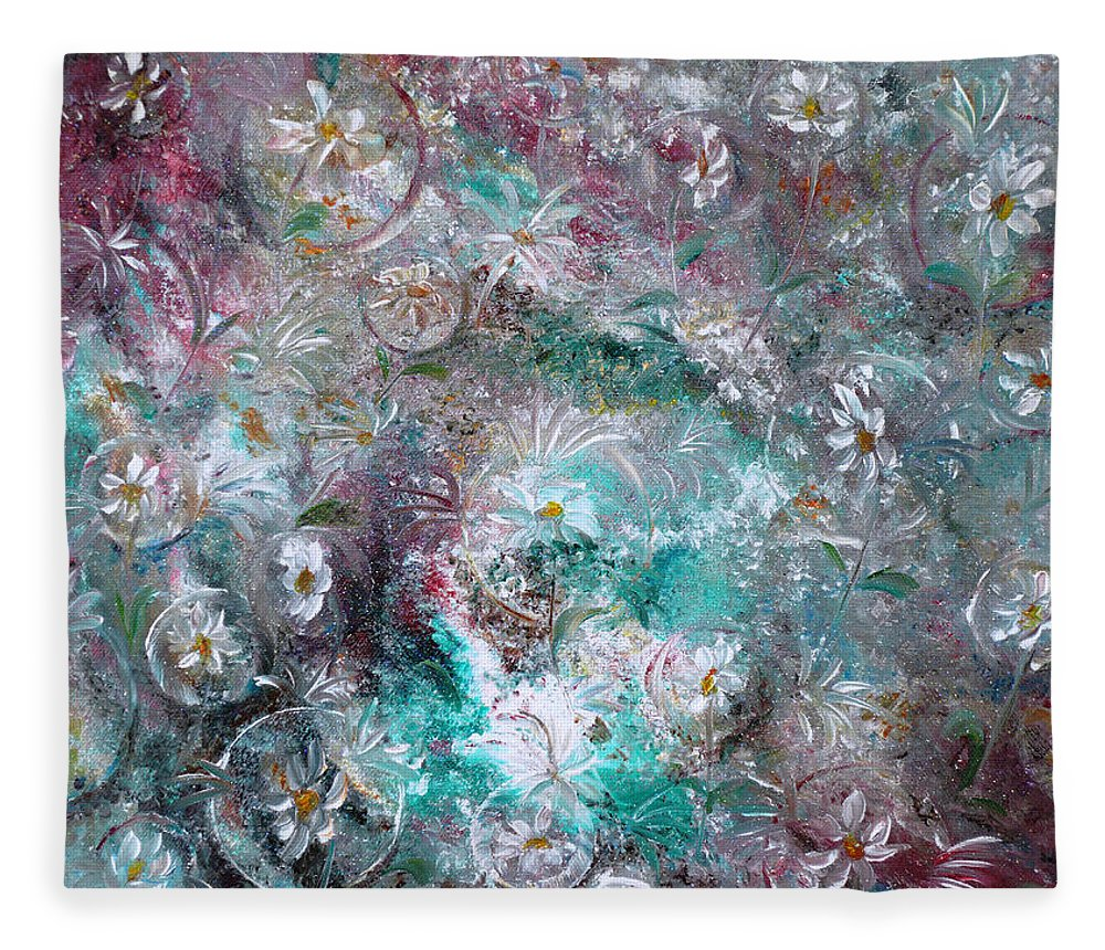 Original Flower Abstract Painting Fleece Blanket featuring the painting Daisy Dreamz by Karin Dawn Kelshall- Best