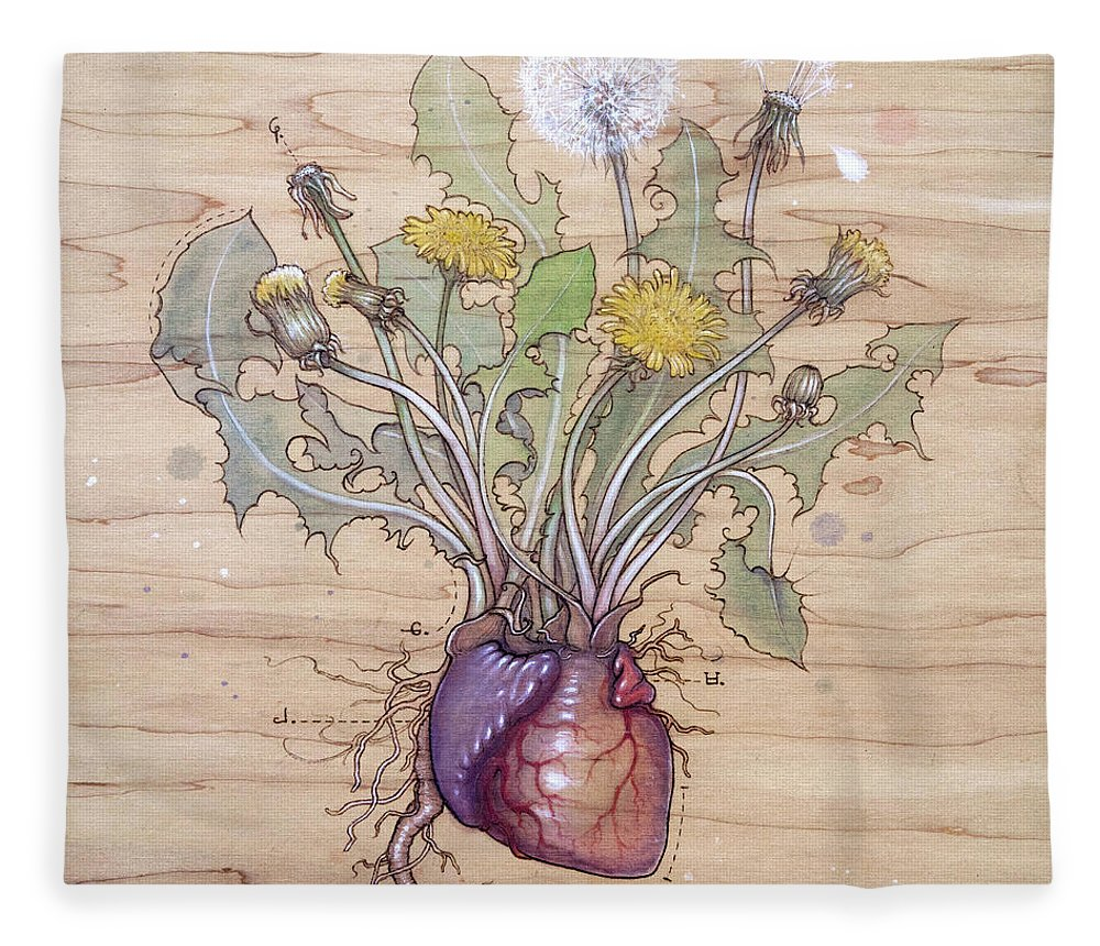 Dandelion Fleece Blanket featuring the pyrography Dandelion Heart by Fay Helfer