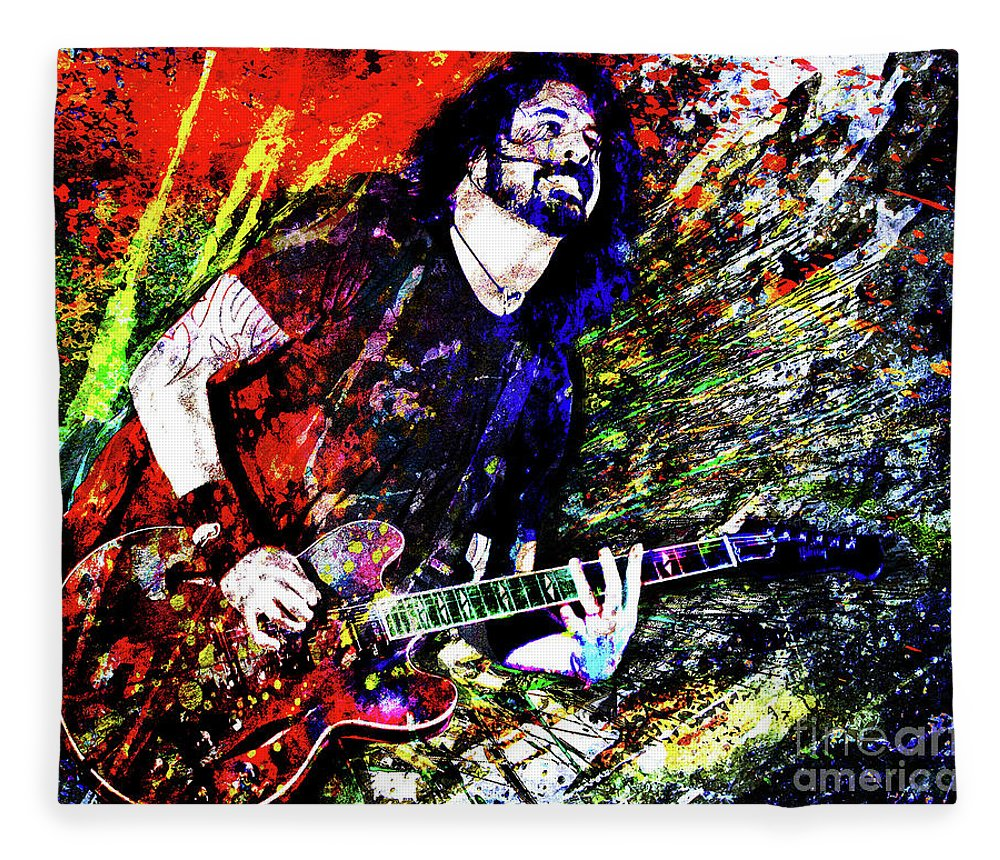 Dave Grohl Fleece Blanket featuring the mixed media Dave Grohl Art by Ryan Rock Artist