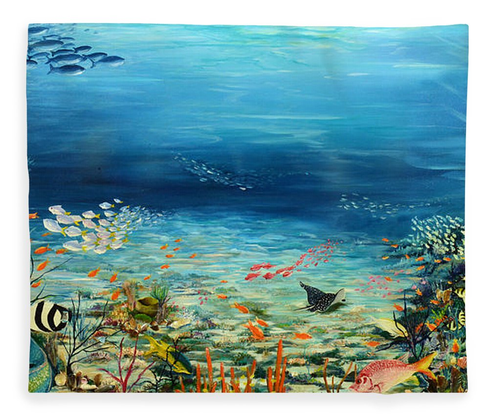 Ocean Painting Undersea Painting Coral Reef Painting Caribbean Painting Calypso Reef Painting Undersea Fishes Coral Reef Blue Sea Stingray Painting Tropical Reef Painting Tropical Painting Fleece Blanket featuring the painting Deep Blue Dreaming by Karin Dawn Kelshall- Best