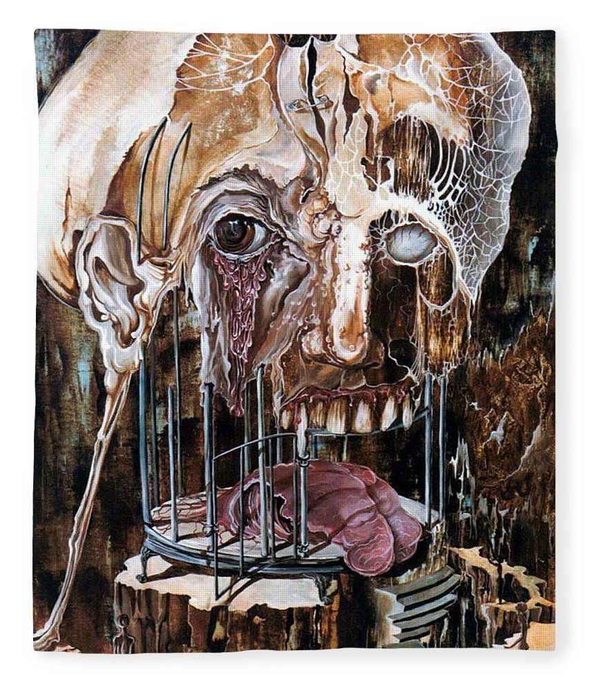 Surrealism Fleece Blanket featuring the painting Deterioration Of Mind Over Matter by Otto Rapp