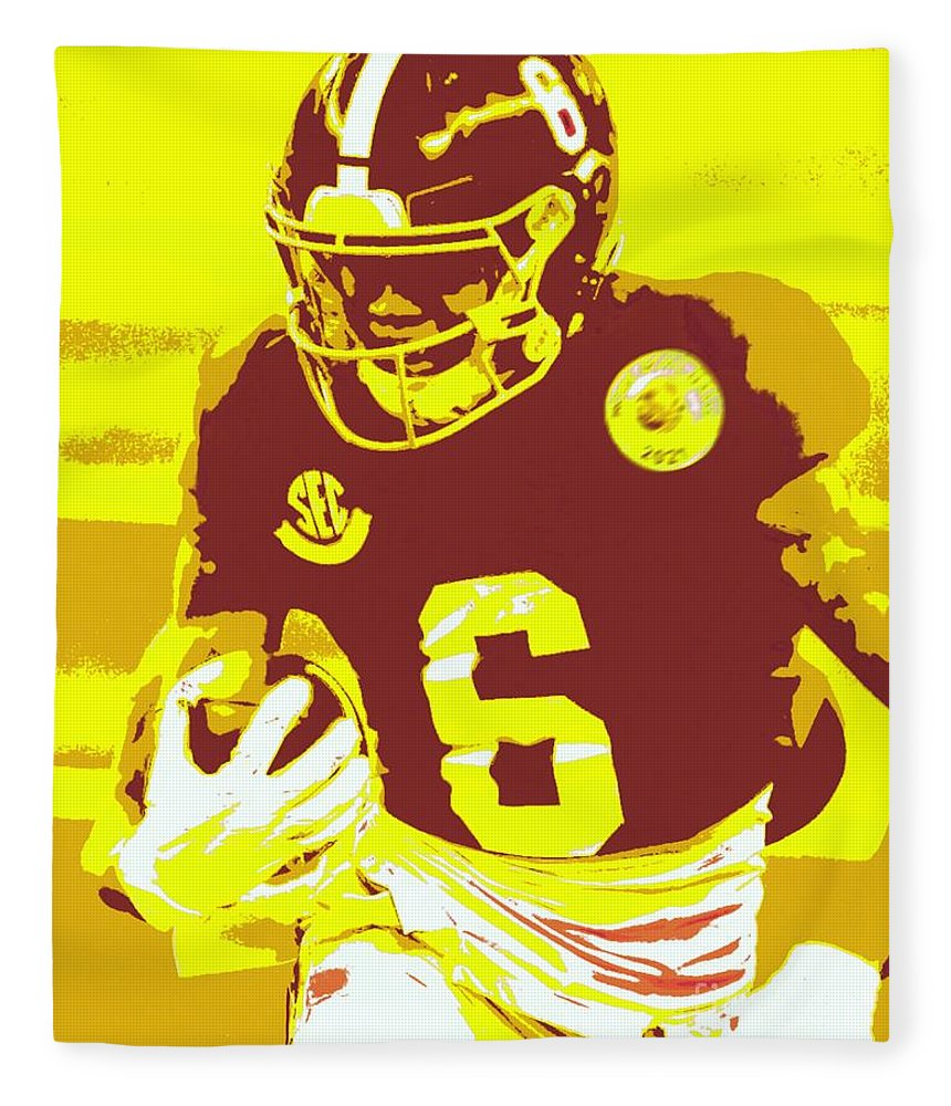 Devonta Smith Fleece Blanket featuring the painting DeVonta Smith by Jack Bunds
