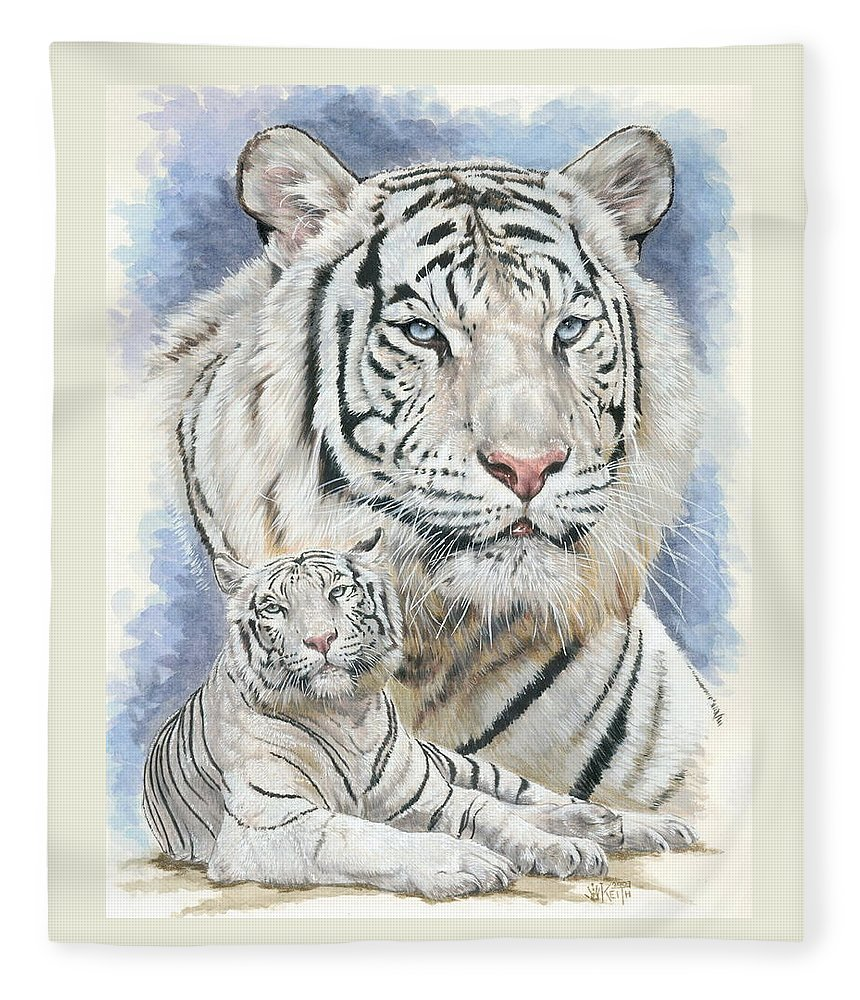 Big Cat Fleece Blanket featuring the mixed media Dignity by Barbara Keith