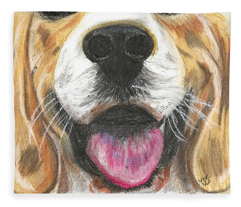 Dog Face Fleece Blanket featuring the painting Dog Face by Monica Resinger
