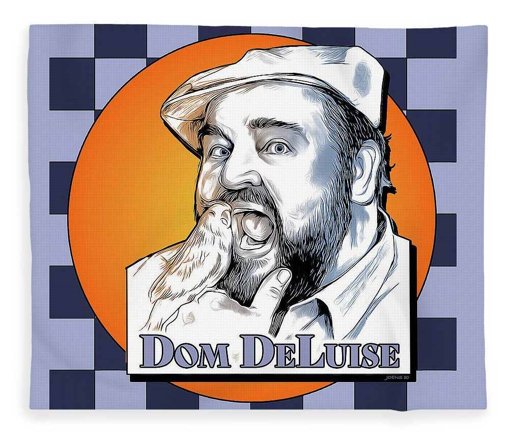 Dom Deluise Fleece Blanket featuring the digital art Dom and the Bird by Greg Joens