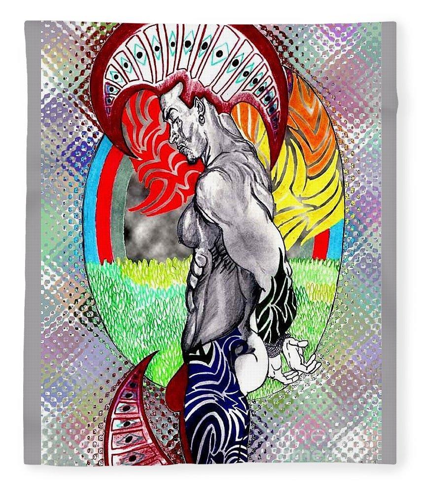 Male Fleece Blanket featuring the drawing Don't Take My Mind On A Trip-jan. 23, 2007 by Antonio Tonyboy Garrett