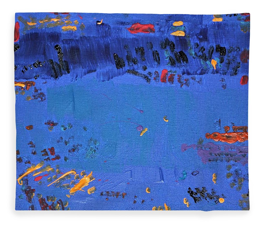 Blue Fleece Blanket featuring the painting Dry Heat by Pam Roth O'Mara