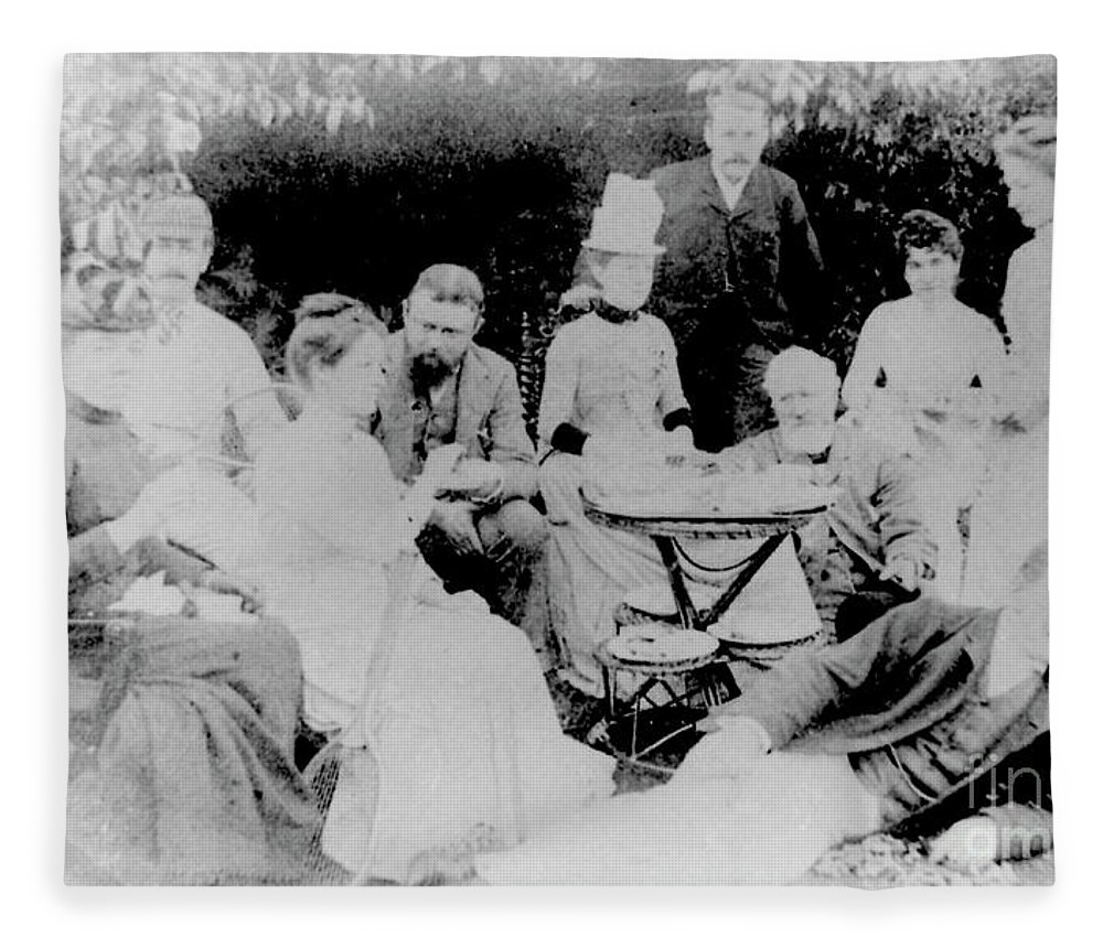 Classical Music Fleece Blanket featuring the photograph Edward Elgar At A Tea Party With Helen Weaver, 1879 by English School