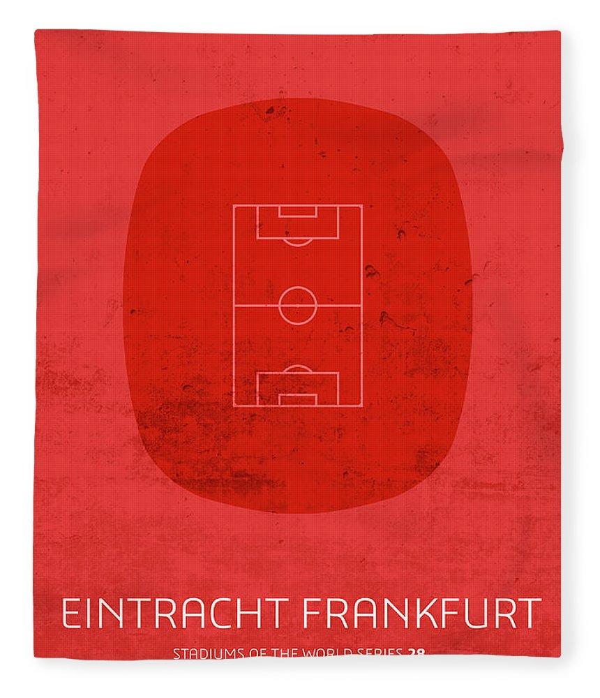 Eintracht Frankfurt Fleece Blanket featuring the mixed media Eintracht Frankfurt Stadium Football Soccer Series by Design Turnpike