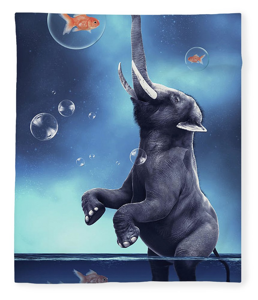 Elephant Fleece Blanket featuring the digital art Elephant Playing With Fishes by Mihaela Pater
