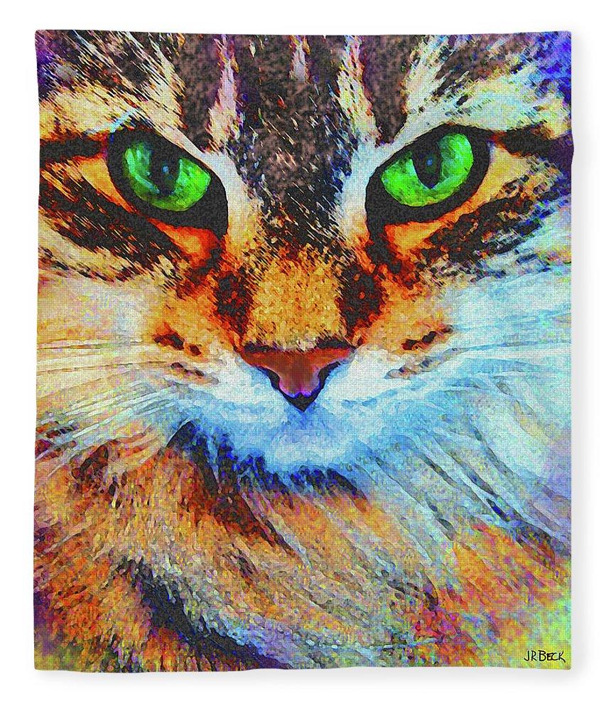 Emerald Gaze Fleece Blanket featuring the digital art Emerald Gaze by Studio B Prints