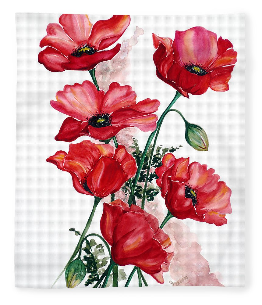 Original Watercolor Of English Field Poppies Painted On Arches Watercolor Paper Fleece Blanket featuring the painting English Field Poppies. by Karin Dawn Kelshall- Best