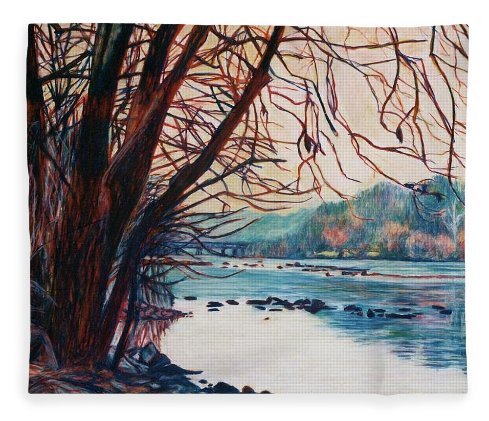 New River Fleece Blanket featuring the pastel Fall on the New River by Kendall Kessler