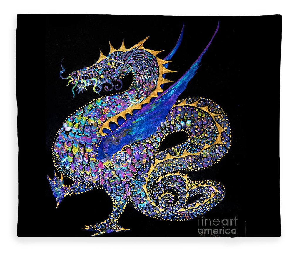 Dragon Fantasy-creature Dragon-illustration Winged-dragon Fleece Blanket featuring the painting Fancy Dragon 7333 by Priscilla Batzell Expressionist Art Studio Gallery