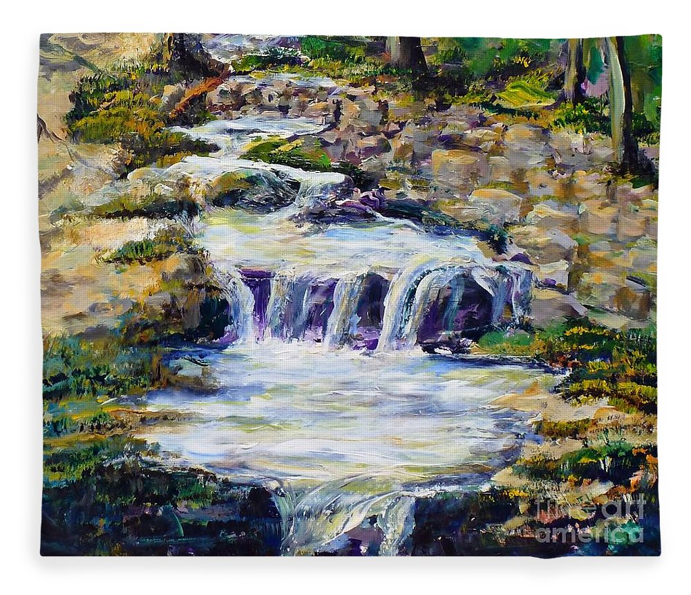 Los Angeles Fleece Blanket featuring the painting Fern Dell Creek Noon by Randy Sprout