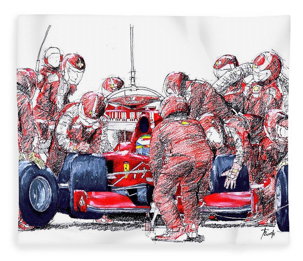 Ferrari Fleece Blanket featuring the drawing Ferrari a boxes, pits, Original handmade drawing by Drawspots Illustrations