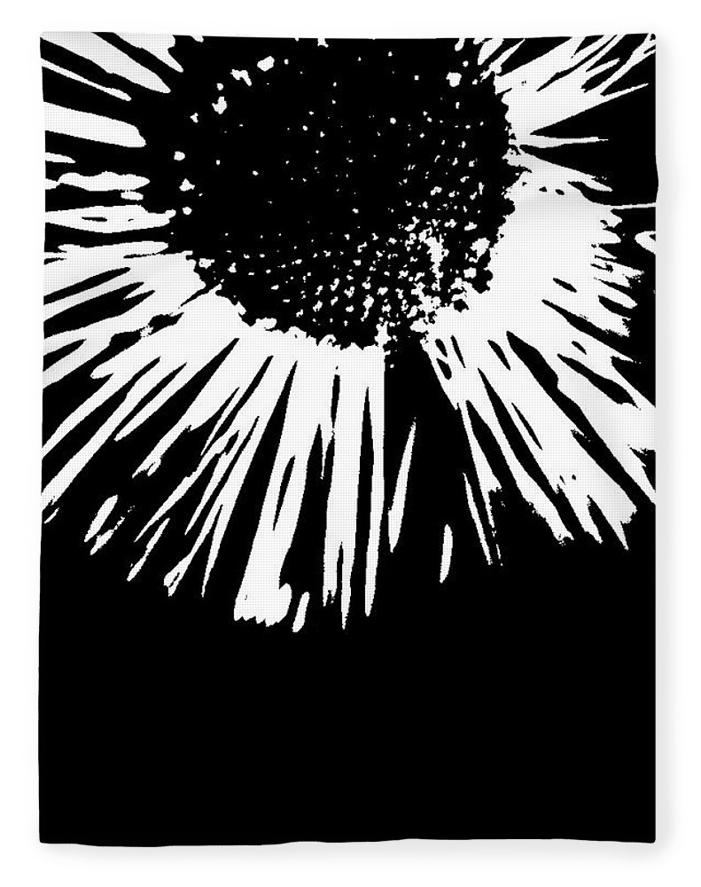 Abstract Fleece Blanket featuring the photograph Field Daisy In Black And White by Holly Morris