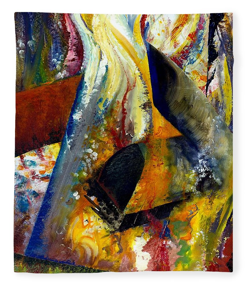 Rustic Fleece Blanket featuring the painting Fire Abstract Study by Michelle Calkins